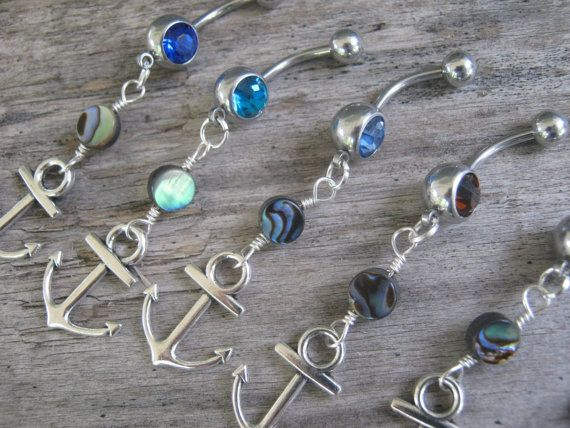 PICK One Anchor Belly Ring Abalone Belly by Abundantearthworks  #abalone #anchor #anchorjewelry #anchorbellyring #anchorpiercing #abalonebellyring #beach #beachchic #beachjewelry #beachbellyring #bellybuttonring #bodyjewelry #abundantearthworks