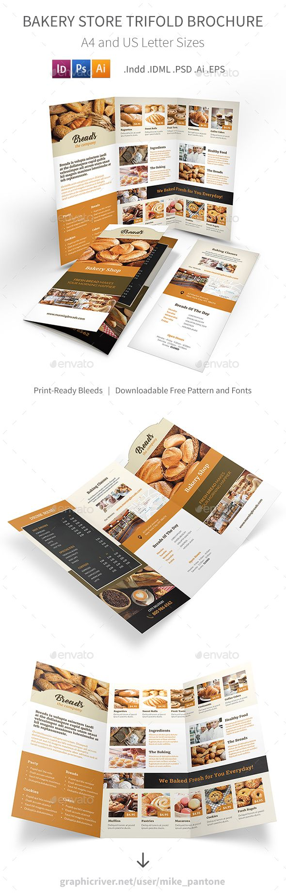 Bakery Store Trifold Brochure 2 — Photoshop PSD #donut #baked • Download ➝ https://graphicriver.net/item/bakery-store-trifold-brochure-2/19408010?ref=pxcr