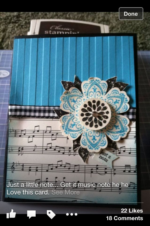Flower music card by Stacy Bergstrom