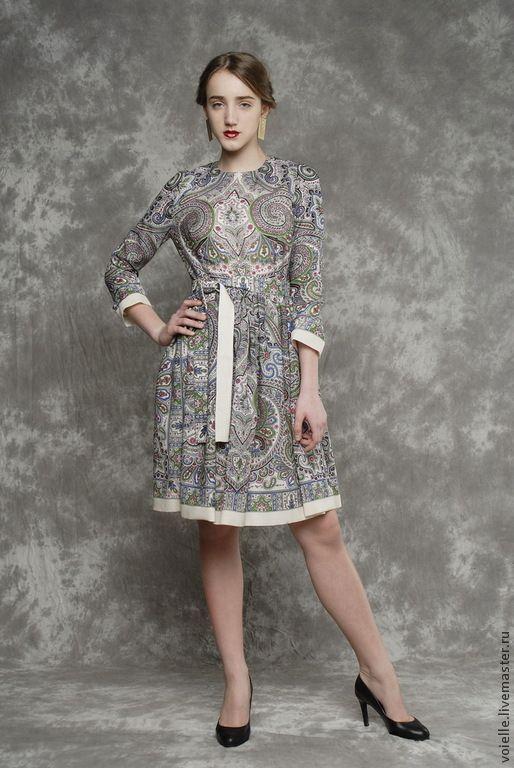 Купить Платье из павловопосадского платка, платье из платка, с орнаментом - платье, платья, платья 2015