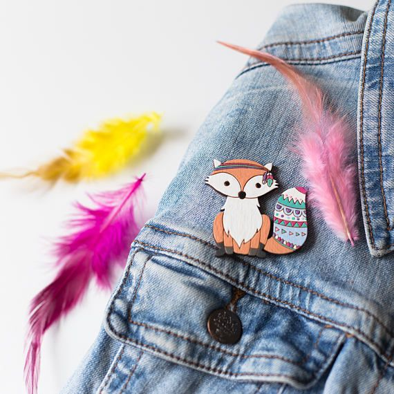 This cute fox wooden brooch will be great on your denim jacket, cardigan, scarf, dress, shirt or even backpack. ► Size: 5*5 cm ( 1.9*1.9 in)  ► Laser cut and engraved on a 3mm birch plywood. ►Hand painted with non-toxic acrylic paint and covered with 2 coats of acrylic matte varnish. ______________________________  Important: ★ each item is unique, the item on a photo is an example ★ colors may vary from one monitor to another. ★ varnish protects brooches from rain/snow/etc., but lo...