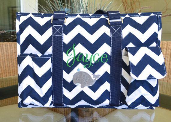 Navy Chevron Diaper Bag New Mom Everyday Tote Custom Monograms Available