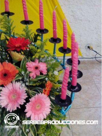 Velero 15 Velas Decorado con Flores Naturales
