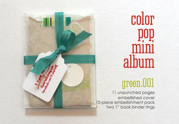 Green Color Pop DIY KIT Mini Album Book Notebook Daybook . Mixed Media Smash Art List Journal Travel Trip Baby Brag Scrapbook Album