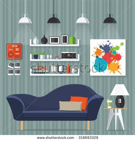 Interior living room with sofa, clock, shelf with books and a Flat style vector illustration. - stock vector