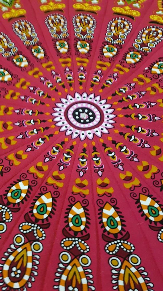 Indian Cotton Mandala Roundies transformed into beautiful quilts. 130cm diameter, cotton wadding, machine washable, line dry.  Perfect for Yoga, bed throw, baby play mat, picnic mat.  Individual, get in quick, this will not last long.