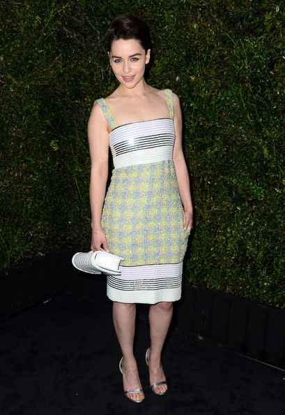 A Modern Classic in Chanel's Tweed - We Can't Get Enough of Emilia Clarke's Regal Red Carpet Style - Photos