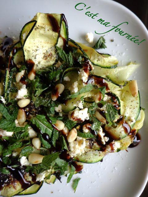 Salade courgette grillées, menthe, feta