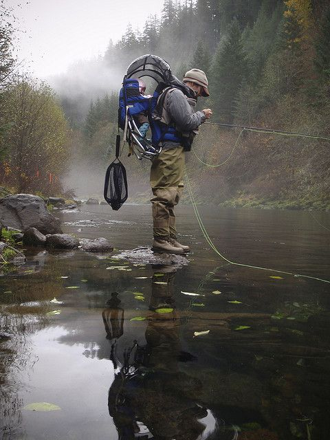 Taking the baby fly fishing ...