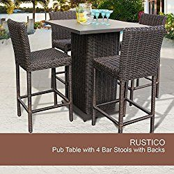 Rustico Pub Table Set With Barstools 5 Piece Outdoor Wicker Patio Furniture