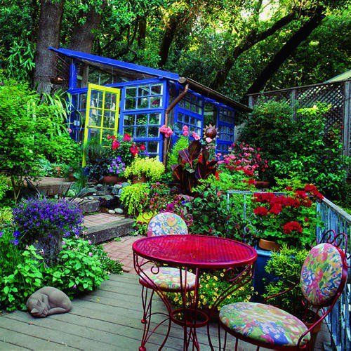 sippin' a glass of wine....mmmm.....Ideas, Windows Greenhouses, Shady Garden, Vibrant Colors, Gardens Landscapes, Recycle Windows, Outdoor Spaces, Bright Colors, Backyards