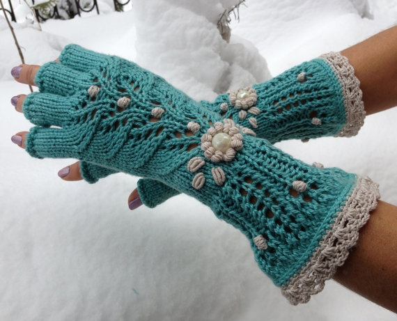 Yellow Floral Embroided Fingerless Gloves