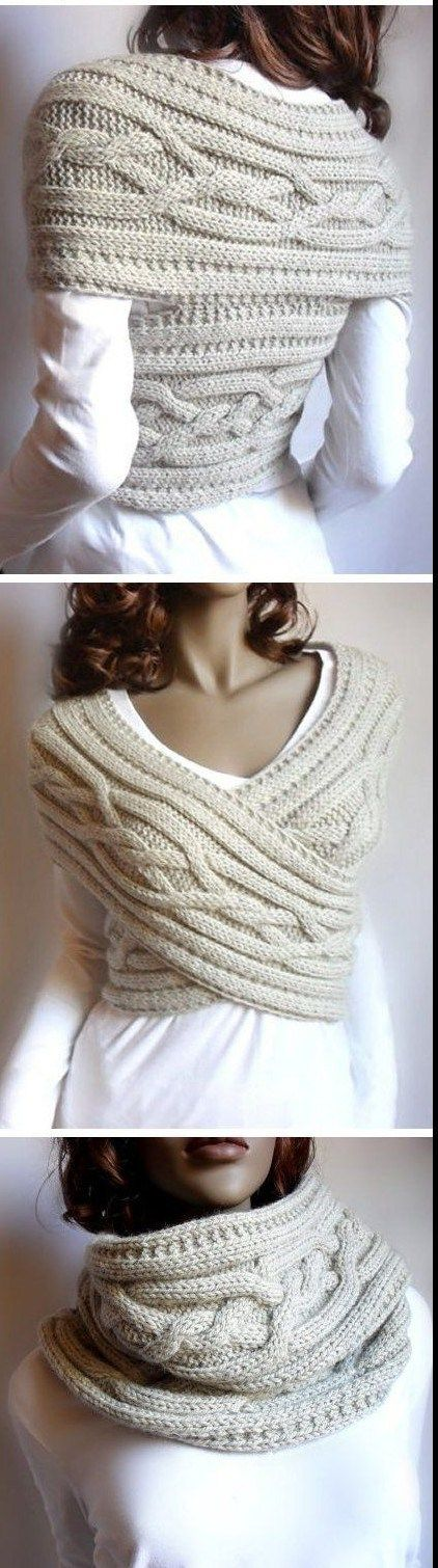 Combination Cable Cowl/Sweater/Shawl knitting pattern - ingenious design knit in a scarf and then assembled. See this and more cowl knitting patterns at http://intheloopknitting.com/cowl-knitting-patterns/