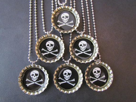 Special Order / Pirate Bottle Cap Party favors (40) 20-boy 20-girl / Feb 5