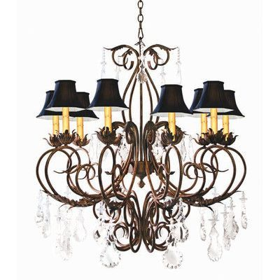 2nd Ave Design Felicia 10-Light Shaded Chandelier Finish: Pompeii Gold Premium, Shade: Black Silk Pleat