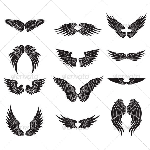wings design —  #love #silhouette • Available here → https://graphicriver.net/item/wings-design/58347?ref=pxcr