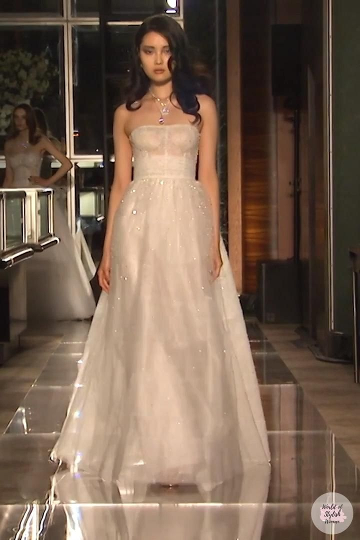 Reem Acra Look 30 Spring Summer 2018 Bridal Collection Video In 2020 Bridal Outfits Dresses Strapless Wedding Dress
