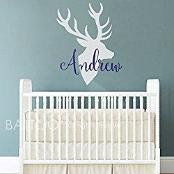 BATTOO Deer Antlers Name Wall Decal - Personalized Nursery Decor - Deer Wall Decal- Boys Room Hunting Themed Woodland Nursery Kids Room Wall Art Decor