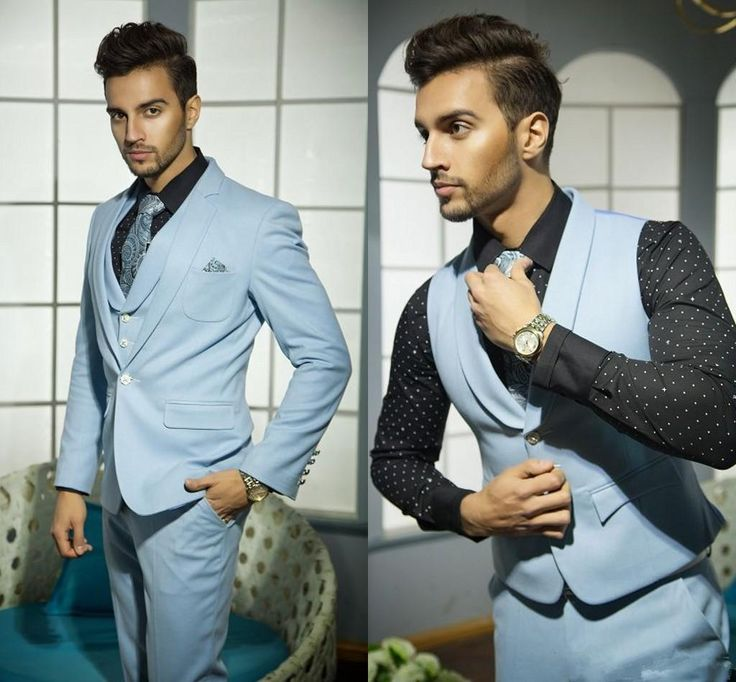 Men Wedding Suits Handsome Formal Suits For Men Blue Vest Grooms Suite For Wedding Hot Selling One Button Tuxedos Jacket+Pants+Vest+Tie Tailcoat White Suits For Men From Zhangzhengqiang, $83.26| Dhgate.Com