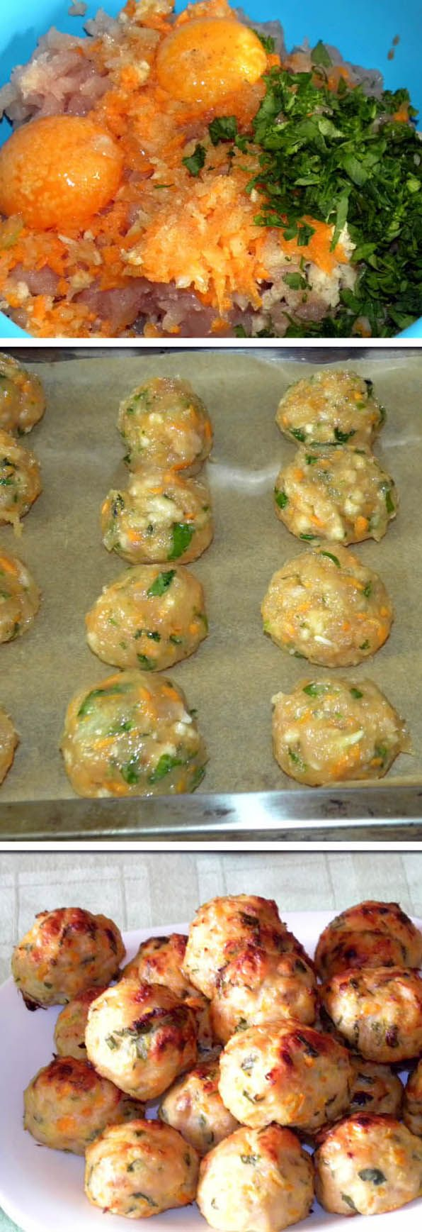 Baked chicken meatballs..Very easy to do !
