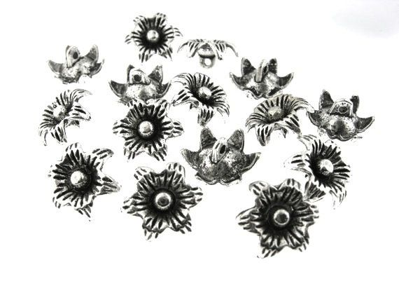 30 pcs 13mm Antique Oxidized Silver Flower by FancyGemsandFindings, $4.75