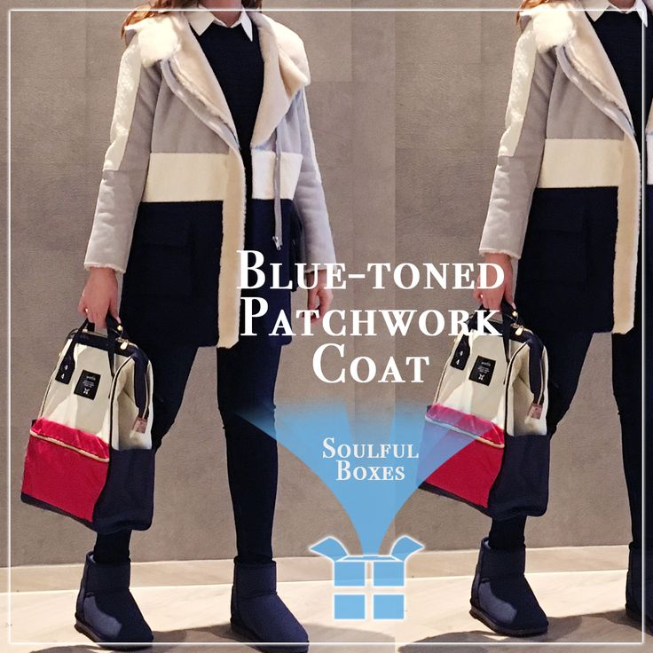 Still feeling chilly outside? Let Soulful Boxes introduce you with this BLUE-TONED PATCHWORK COAT!! Tone on tone mix-and-match are really HOT right now~ You can simply match a pair of jeans and blue boots with this Coat! The furred lapel and parts highlighted the whole look by giving some warmth and brightness. By matching an ANELLO backpack, your total look completes! CAD$150 (Tax included) Inbox for any enquiry Sis~