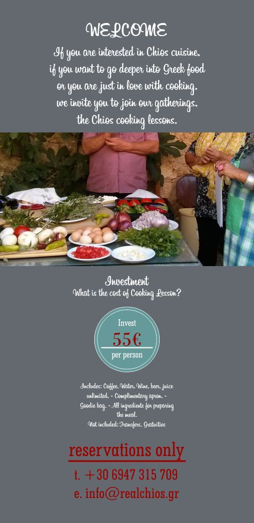 RealChios has rounded up a series of cooking lessons for visitors of Chios Island