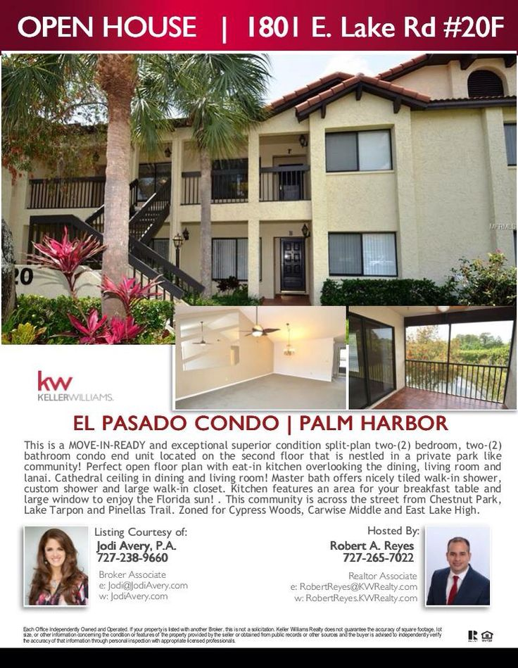 Great Condo at El Pasado in Palm Harbor, Florida. This is a move in ready 2 bedroom and 2 bathroom located on the second floor that is nestled in a private park like community. This well maintained community located in the much desired East Lake corridor, across the street from Chestnut Park (walking, kayaking on Lake Tarpon, picnicking) Pinellas Trail across the way, YMCA very close, Come and visit me Saturday 11am to 2pm and Sunday 1pm to 4pm.