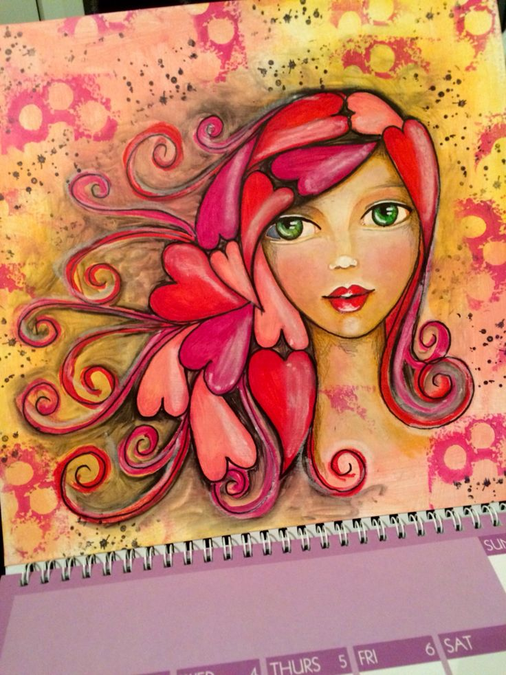 February art calendar challenge art journal page