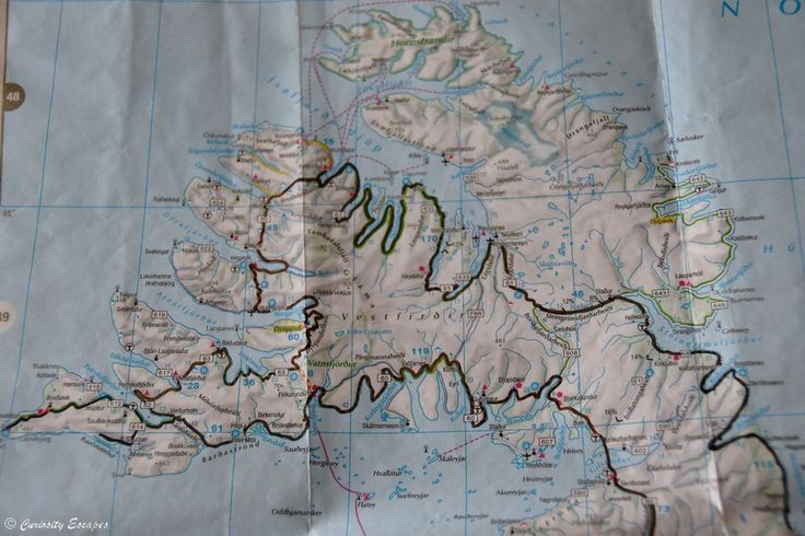 Carte des fjords de l'Ouest de l'Islande