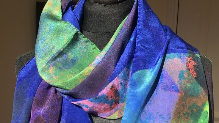Artist designed large luxury scarves, hand rolled and with a dimension of 68/70x200cm. Available in 100%Silk and Modal 90%/Cashmere 10%
