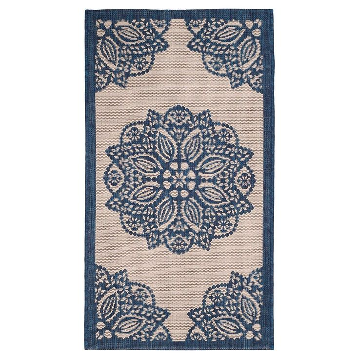 "Claridge Rectangle 5'3"" X 7'7"" Outer Patio Rug - Beige / Navy - Safavieh, Blue"