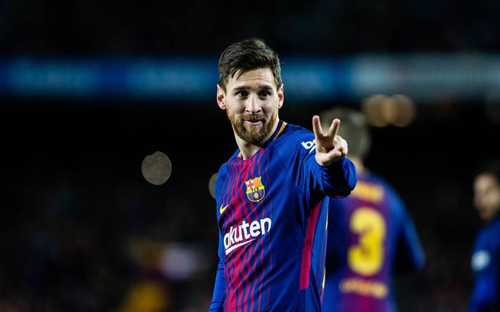 Download wallpapers Messi, goal, Barcelona, match, La Liga, Spain, Barca, Lionel Messi, FC Barcelona, football stars, Leo Messi