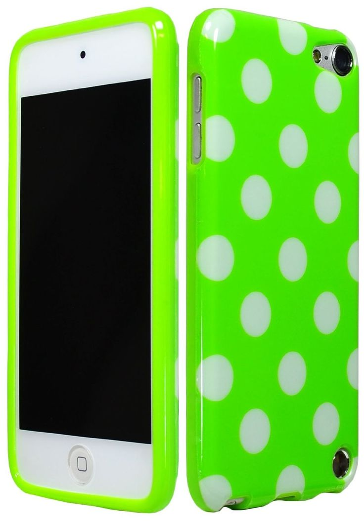 Green Polka Dot Gel Flex Case TPU Cover for iPod Touch 5th Generation 5G itouch 5