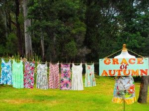 Vintage Dresses Hanging on the Old Fashioned Country Clothes Line