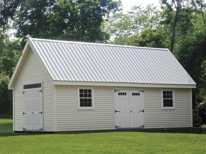 Best Penn Dutch Structures Light Gray Metal Roof Garage Door 400 x 300
