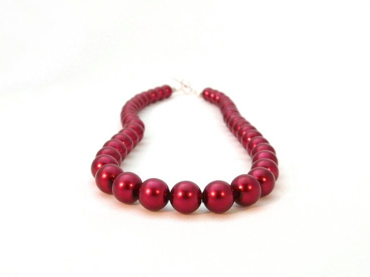 Ruby red pearl necklace with swarovski crystals and sterling silver