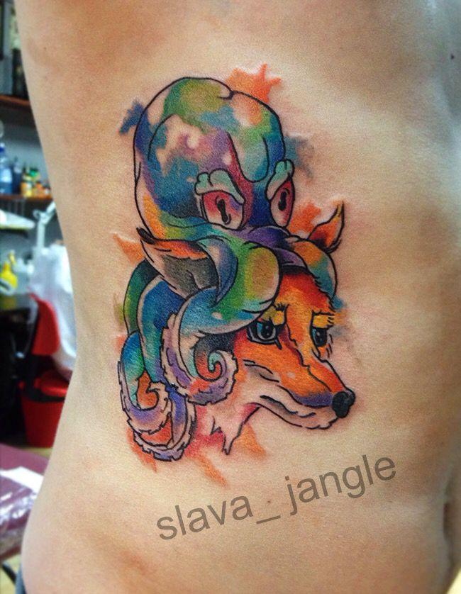 акварельная татуировка лиса осьминог watercolor tattoo fox octopus