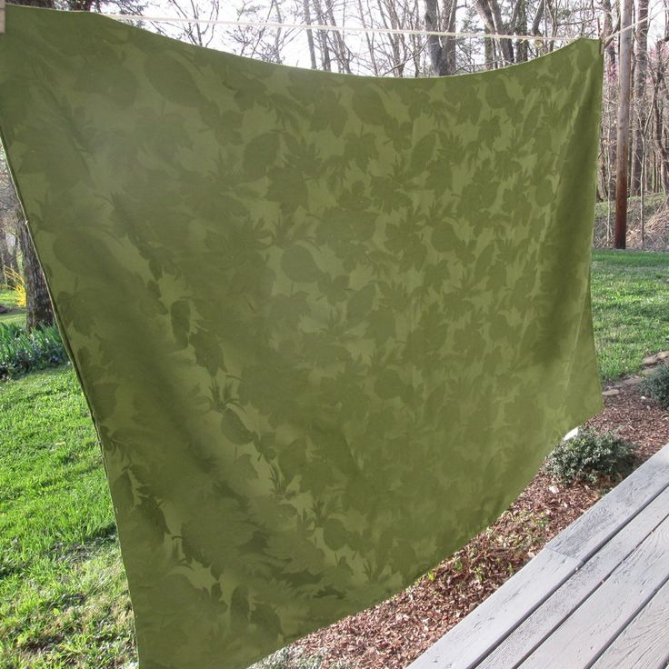 Large Vintage Olive Green Tablecloth - Leafy Damask Synthetic Blend by SimplySuzula on Etsy https://www.etsy.com/listing/274193212/large-vintage-olive-green-tablecloth