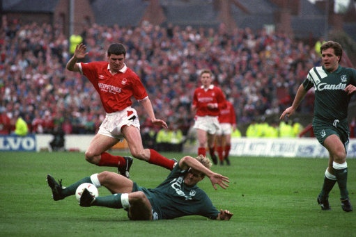 April 22, 1992, Nottingham Forest 1 - 1 Liverpool.  Roy Keane in action.