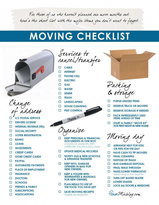 Next house: Printable moving checklist. Change of address. services to stop. organizing More