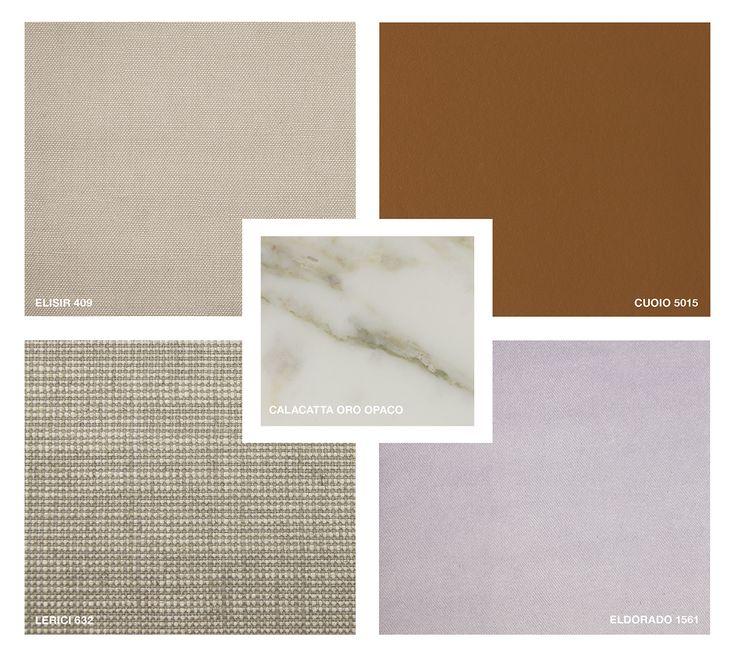 Marble: Calacatta Oro matt Fabrics: Elisir 409 and Lerici 632 Velvet: Eldorado 1561 Hide Leather: Cuoio 5015