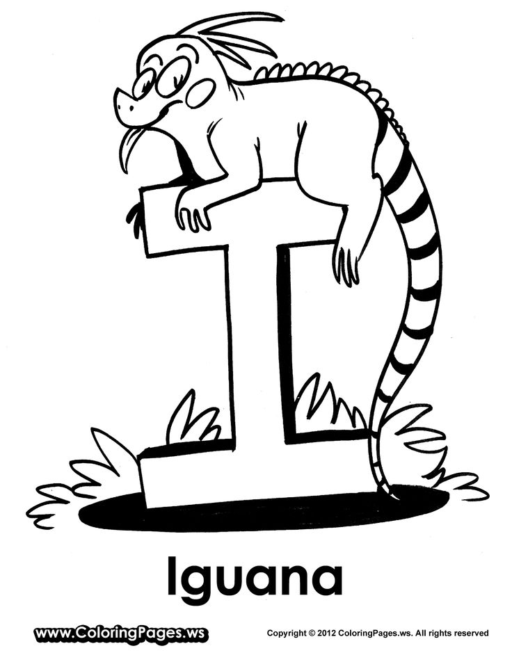 I is for Iguana Coloring Pages