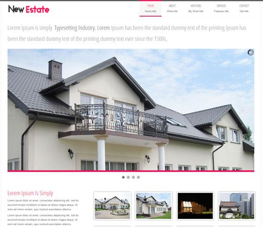 Free website template CSS HTML5 New Estate a Real Estate Mobile Website Template