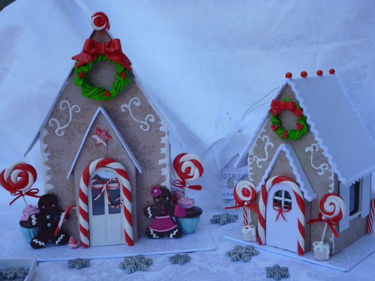 Gingerbread House made out of chipboard and decorated with glitter and fimo clay