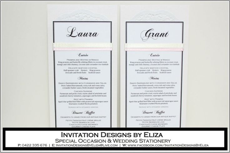 Menu Designs  {Wedding} Pale Pink, Pale Yellow & Pearl Theme www.facebook.com/InvitationDesignsByEliza