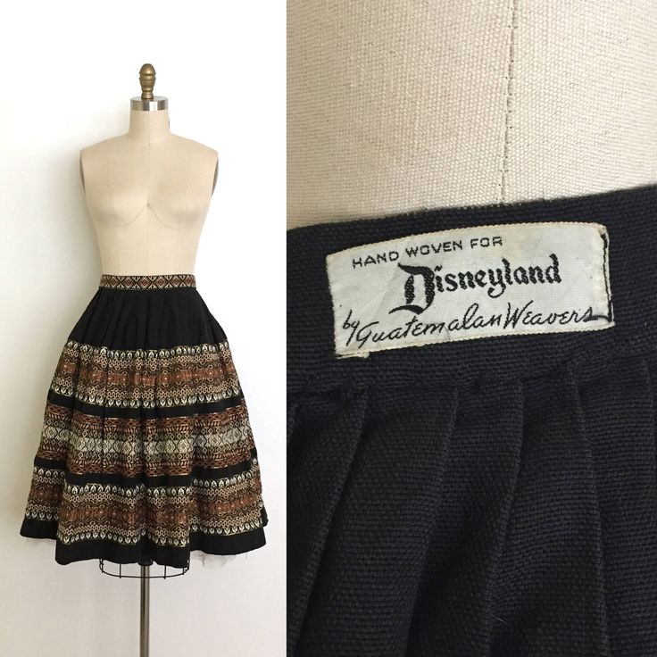 Vintage 1950s Disneyland Skirt // 50s Disney Woven Guatemalan Skirt // Travel Souvenier Apparel // Black Skirt Size Small Medium by DuchesseVintage on Etsy https://www.etsy.com/ca/listing/512351426/vintage-1950s-disneyland-skirt-50s