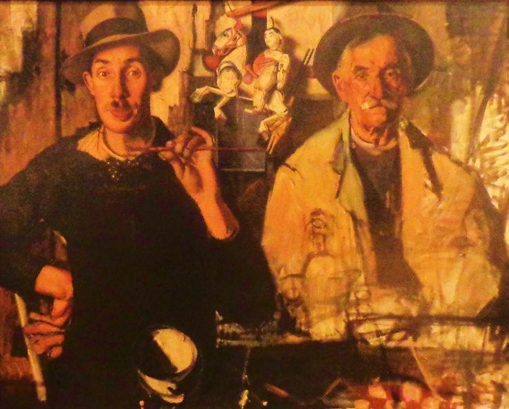'Dubbelportret van de schilder en zijn vader' door Dick Ket uit 1939. Dick Ket schilderde zichzelf, zijn familieleden en voorwerpen uit zijn eigen 'microkosmos': voor hem was het een afspiegeling van de buitenwereld. In totaal maakte hij veertig zelfportretten. In het zelfportret met zijn vader houdt Dick Ket, met hoed, het penseel horizontaal vast. Opvallend zijn Kets 'horlogeglasnagels', die een symptoom zijn van zijn handafwijking.