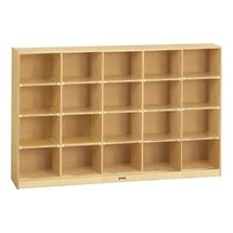 Baltic Birch 20-Cubby Mobile Storage Unit w/ Colorful Trays
