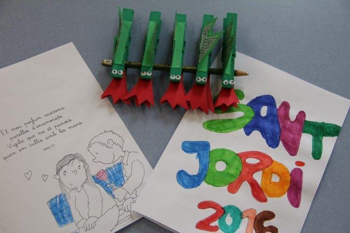 SANT JORDI - Material: cartolina, paper, pinzell, pintura, tisores, cola, pinzes de fusta - Nivell: CI 1PRI 2015-16 Escola Pia Balmes